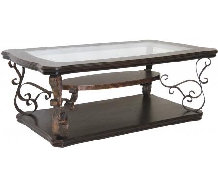 Купить Журнальный стол Мебелик, Лючия 2101 темно-коричневый / прозрачный