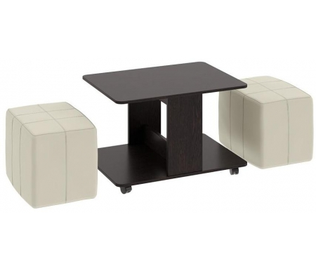 Купить Журнальный стол Трия, с пуфиками Капри венге цаво / светлый кожзам