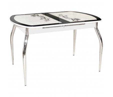 Обеденный стол Флоренция  белый / черныйСтекло + дерево<br>Стол оснащен синхронным механизмом раскладывания. <br>Орнамент: кожзам /  крокодил черный.<br>
