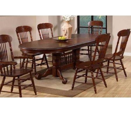 Стол GR HNDT-4296-SWC HN Glaze (темный дуб)Деревянные столы<br>Клинья на шпоне образуют узор солнечные лучи. <br>Стол имеет две вставки по 41 см, которые хранятся отдельно. За разложенным столом можно разместить до 12 персон.<br>