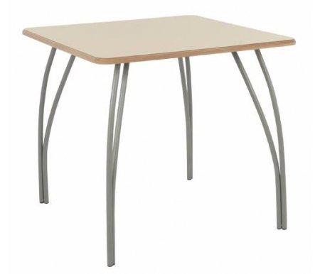 Стол ЧестерДеревянные столы<br>Стол изготовлен из МДФ (толщина 19 мм), покрытой эмалью. Ножки - матовый хромированный металл.<br><br>Длина: 80 см<br>Ширина: 80 см<br>Высота: 75 см<br>Материал: МДФ, металл<br>Цвет: крем с патиной<br>Вес: 13 кг