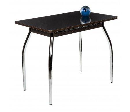 Стол Чинзано М венге / кофе / ножка 01 хромДеревянные столы<br>Стол Чинзано М изготовлен из ламинированного ДСП, столешница покрыта закаленным стеклом, механизм раскладки - бабочка (расположен на лицевой части подстолья).<br>