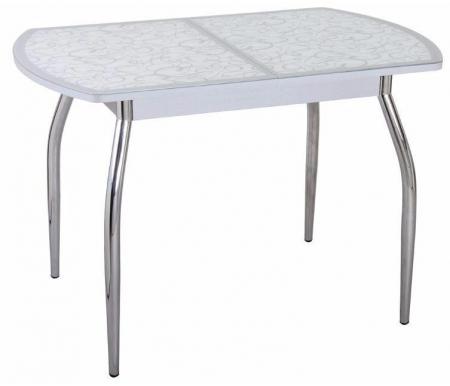 Стол Чинзано ПО ст-2 серый / белый с серым узором / ножка 01Деревянные столы<br>Стол Чинзано ПО ст-2 изготовлен из ламинированного ДСП, столешница покрыта закаленным стеклом. <br>При раскладке столешницу разделяет вставка из ЛДСП. Механизм раскладки бабочка расположен на лицевой части подстолья.<br>