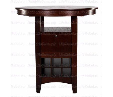 Стол HermesДеревянные столы<br>Стол Hermes станет изюминкой в Вашей обеденной зоне, так как совмещает в себе барный стол и полки для хранения винной коллекции. Исполнение столешницы МДФ, покрытой шпоном. Каркас выполнен из массива - гевеи.<br>