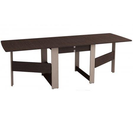 Стол-книжка Колибри 12.2 дуб венге / дуб кобургДеревянные столы<br>Каркасстола-книжки Колибри 12.1изготовлен из ламинированного ДСП (толщина 16 мм) с ПВХ кантом. Столешница выполнена из ламинированного ДСП толщиной 16 мм со скругленными углами. Конструкция этого стола позволяет размещать эту модель стола в любом помещении, внутри тумбы предусмотрено место для хранения двух вставок, с помощью которых стол можно разложить до размера большого обеденного на 12 посадочных мест (2,31 м). <br> <br> <br> <br>  <br> <br> <br>В комплекте пластиковые ножки, регулируемые по высоте.<br>