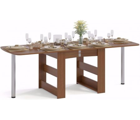 Стол-книжка СП-11 ноче-эккоДеревянные столы<br>Сложенный стол – размер 73,4 см х 31,4 см х 83 см – может использоваться как пристенный столик;<br> <br>На половину разложенный стол – размер 73,4 см х 168 см х 83 см – подойдет для небольшого праздничного обеда;<br> <br>Полностью разложенный стол – размер 74 см х 225,5 см х 83 см – подойдет для масштабного застолья.<br>
