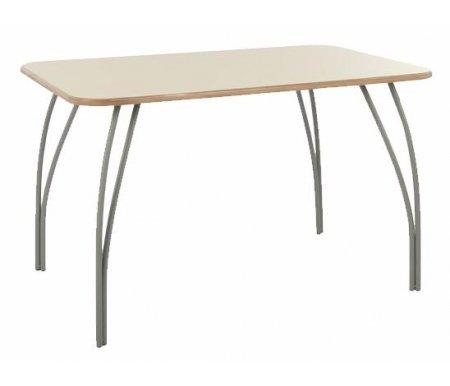 Стол ЛаргоДеревянные столы<br>Стол изготовлен из МДФ (толщина 19 мм), покрытой эмалью. Ножки - матовый хромированный металл.<br><br>Длина: 120 см<br>Ширина: 75 см<br>Высота: 75 см<br>Материал: МДФ, металл<br>Цвет: крем матовый<br>Вес: 17 кг