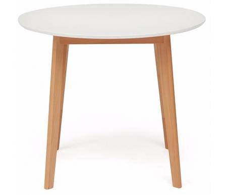 Купить Стол обеденный Тетчер, Bosco D90 белый / натуральный, бук / белый
