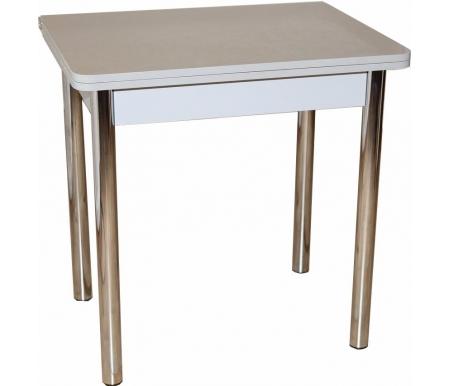 Купить Стол обеденный Red Black, ЛС-831 золотой металлик / ножки хром, ножки хром, подстолье и кромка серый, верх столешницы золото металлик