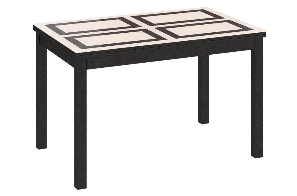 Стол обеденный раздвижной Диез Т11 С-343 венге / дуб миланский стекло с рисунком