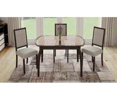 Стол обеденный Сидней СМ-219.01.15 на деревянных ножках венге / стекло с рисункомСтекло + дерево<br>Обеденный стол Стамбул для кухни, с деревянными ножками. <br>Количество посадочных мест 6.<br>