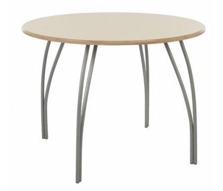 Стол ОливерДеревянные столы<br>Стол изготовлен из МДФ (толщина 19 мм), покрытой эмалью. Ножки - матовый хромированный металл.<br><br>Длина: 100 см<br>Ширина: 100 см<br>Высота: 75 см<br>Материал: МДФ, металл<br>Цвет: крем с патиной<br>Вес: 19 кг