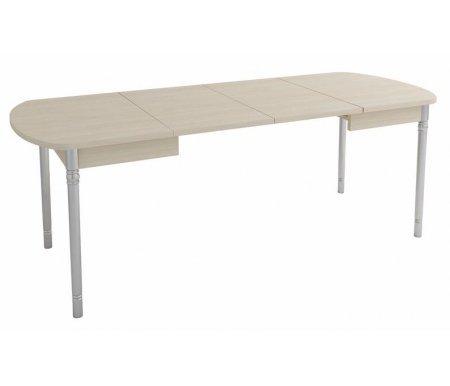 Стол Орфей 10 дуб кобургДеревянные столы<br>Орфей 10 - большой обеденный стол, идеален в качестве праздничного. Столешница с радиусными углами увеличивается в длину благодаря двум вставкам на 40 или 80 см. Ножки, отделанные под хром, декорированы в верхней и нижней части. Стол выполнен из ЛДСП (16 и 22 мм) и ПВХ (0,4 и 2 мм). Поставляется в цветах - дуб Венге, Ольха, ясень Шимо темный и дуб Кобург.<br>