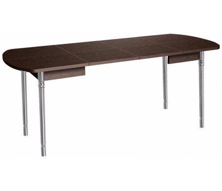 Стол Орфей 10 дуб венгеДеревянные столы<br>Орфей 10 - большой обеденный стол, идеален в качестве праздничного. Столешница с радиусными углами увеличивается в длину благодаря двум вставкам на 40 или 80 см. Ножки, отделанные под хром, декорированы в верхней и нижней части. Стол выполнен из ЛДСП (16 и 22 мм) и ПВХ (0,4 и 2 мм). Поставляется в цветах - дуб Венге, Ольха, ясень Шимо темный и дуб Кобург.<br>