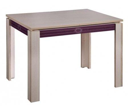 Стол Орфей 15.12 дуб Кобург / баклажанДеревянные столы<br>Орфей 15.10 - большой светлый стол, который увеличивается на 50 см, механизм раскладки - бабочка. Декорирован вставкой из стекла с рисунком в цвете Синга Баклажан. Выполнен из ЛДСП (22 мм) и ПВХ (0,4 и 2 мм).<br>