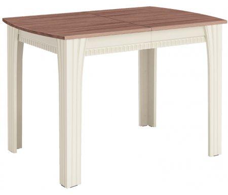 Стол Орфей 21Деревянные столы<br>Орфей 21- большой обеденный стол, идеален в качестве праздничного. Столешница с закругленными углами увеличивается в длину благодаря двум вставкам на 40 или 80 см. <br>Преимущества стола:<br> <br>- царги со сложной фрезеровкой с цвете Магнолия глянец;<br> <br>- механизм синхронного раздвижения столешницы;<br> <br>- увеличение столешницы на 40 см и 80 см;<br> <br>- оригинальное цветовое решение.<br>