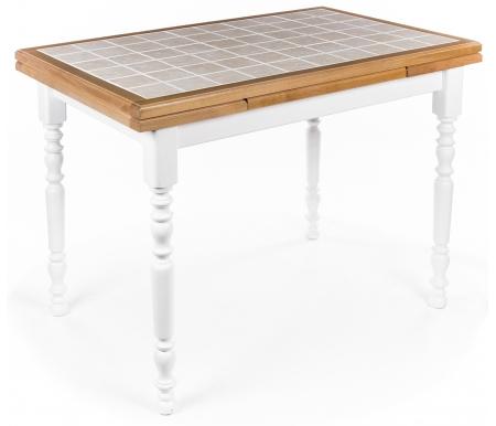 Купить Стол Мебель Малайзии, PROVENCE LG 110*70 Ceramique Uni, белый / ceramique uni (бук золотистый / бежевая плитка)