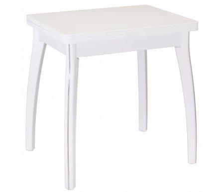 Стол Реал М-2 КМ 04 белый / ножка МДФ 07 белаяДеревянные столы<br>Стол Реал М-2 КМ выполнен из ламинированного ДСП, столешница покрыта искусственным камнем. Механизм раскладки: поворотно-откидной.<br>