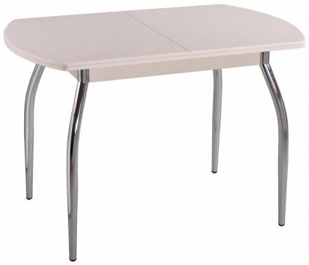 Стол Реал ПО КМ кремовый / камень 06 / ножка 01Деревянные столы<br>Обеденныйстол Реал ПО КМ полуовальной формы выполнен из ламинированного ДСП, столешница покрыта искусственным камнем (толщина столешницы 2,4 см). <br>Механизмом раскладки стола - бабочка (находится на лицевой части подстолья). Представленная модель для удобства имеет несколько цветовых вариантов исполнения.<br>