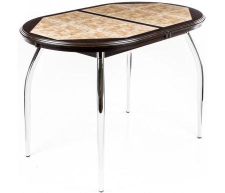 Стол Шарди ОДеревянные столы<br>Стол Шарди О овальной формы выполнен из МДФ.<br> <br>Столешница имеет отделку пленкой PVC при помощи вакуумного прессования.<br> <br>Керамическая плитка защищает стол как от физического, так и от температурного воздействия.<br> <br>Благодаря специальной вставке длина столешницы увеличивается на 37 см.<br> <br>Вставка выполнена из МДФ и хранится внутри модели.<br> <br>Стол представлен в нескольких вариантах исполнения.<br> <br>Комплектуется металлическими ножками, либо ножками из МДФ.<br> <br> <br>  <br> <br> <br>Внимание! Модель, представленная на фото (Венге / Плитка № 22), снята с производства.<br><br>Цвет: Крем / Плитка № 21<br>Цвет: Венге / Плитка № 98<br>Цвет: Крем / Плитка № 98<br>Цвет: Венге / Плитка № 05<br>Цвет: Серый / Плитка № 05<br>Цвет: Серый / Плитка № 09<br>Цвет: Белый / Плитка № 05<br>Цвет: Венге / Плитка № 22<br>Цвет: Орех / Плитка № 98<br>Длина: 114 см (раскладывается до 151 см)<br>Ширина: 70 см<br>Покрытие столешницы: ламинат<br>Цвет: серый, крем, венге, белый<br>Отделка столешницы: плитка