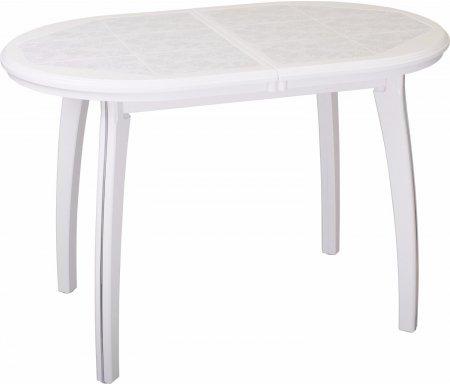 Стол Шарди О бело-серебристый / плитка 05 / ножка 07 белыйДеревянные столы<br>Стол Шарди О овальной формы выполнен из МДФ.<br> <br>Столешница имеет отделку пленкой PVC при помощи вакуумного прессования.<br> <br>Керамическая плитка защищает стол как от физического, так и от температурного воздействия.<br> <br>Благодаря специальной вставке длина столешницы увеличивается на 37 см.<br> <br>Вставка выполнена из МДФ и хранится внутри модели.<br>