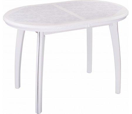 Стол Шарди О белый / плитка 05 / ножка 07 белыйДеревянные столы<br>Стол Шарди О овальной формы выполнен из МДФ.<br> <br>Столешница имеет отделку пленкой PVC при помощи вакуумного прессования.<br> <br>Керамическая плитка защищает стол как от физического, так и от температурного воздействия.<br> <br>Благодаря специальной вставке длина столешницы увеличивается на 37 см.<br> <br>Вставка выполнена из МДФ и хранится внутри модели.<br>