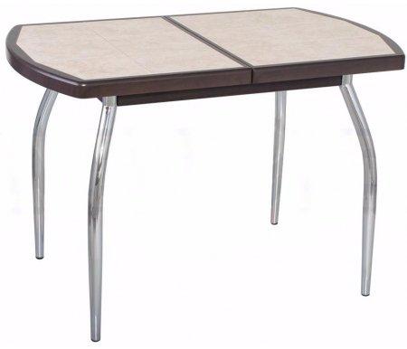 Стол Шарди ПО венге / плитка №98 / ножка 01 хромДеревянные столы<br>Стол Шарди ПО овальной формы выполнен из МДФ.<br> <br>  Столешница имеет отделку пленкой PVC при помощи вакуумного прессования.<br> <br>  Керамическая плитка защищает стол как от физического, так и от температурного воздействия.<br> <br>  Благодаря специальной вставке длина столешницы увеличивается на 37 см.<br> <br>  Вставка выполнена из МДФ и хранится внутри модели.<br>