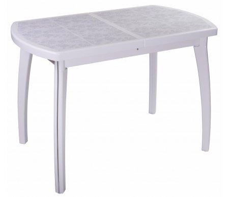 Стол Шарди ПО белый / плитка №05 / ножка 07 белыйДеревянные столы<br>Стол Шарди ПО овальной формы выполнен из МДФ.<br> <br>  Столешница имеет отделку пленкой PVC при помощи вакуумного прессования.<br> <br>  Керамическая плитка защищает стол как от физического, так и от температурного воздействия.<br> <br>  Благодаря специальной вставке длина столешницы увеличивается на 37 см.<br> <br>  Вставка выполнена из МДФ и хранится внутри модели.<br>