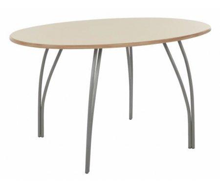 Стол ЦезарьДеревянные столы<br>Стол изготовлен из МДФ (толщина 19 мм), покрытой эмалью. Ножки - матовый хромированный металл.<br><br>Длина: 120 см<br>Ширина: 90 см<br>Высота: 75 см<br>Материал: МДФ, металл<br>Цвет: крем матовый<br>Вес: 21 кг