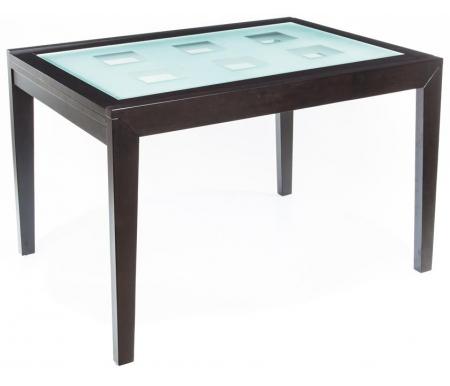 Стол раскладной Verona 120Деревянные столы<br>Столешница из матового закаленного стекла имеет квадраты из прозрачного стекла.<br>
