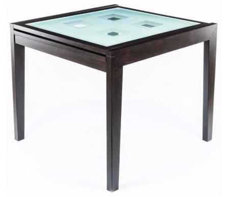 Стол раскладной Verona 90Деревянные столы<br>Столешница из матового закаленного стекла имеет квадраты из прозрачного стекла.<br>