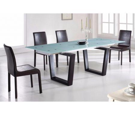 Обеденная группа стол EV306 и 4 стула 4181 коричневыеОбеденные группы<br><br><br>Длина стола: 150 см (раскладывается до 220 см)<br>Ширина стола: 90 см<br>Высота стола: 76 см<br>Ширина стула: 42 см<br>Глубина стула: 52 см<br>Высота стула: 95 см<br>Материал столешницы: закаленное стекло<br>Материал каркаса стола: дерево<br>Цвет каркаса стола: венге<br>Материал каркаса стула: металл<br>Материал обивки: перфорированная кожа<br>Цвет обивки: коричневый