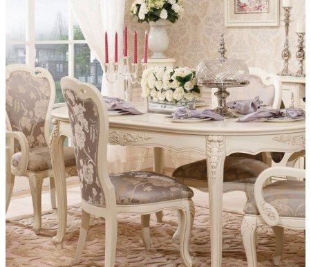 Комплект Милано 528Обеденные группы<br>Элегантный комплект Милано 528 состоит из стола, четырех стульев и двух кресел.<br> <br>Изящные резные элементы в сочетании с благородным цветом привносят в атмосферу интерьера аристократическую роскошь.<br><br>Длина стола: 160 см<br>Ширина стола: 100 см<br>Высота стола: 82 см<br>Ширина стула: 56 см<br>Глубина стула: 63 см<br>Высота стула: 103 см<br>Ширина кресла: 62 см<br>Глубина кресла: 63 см<br>Высота кресла: 106 см<br>Материал: массив гевеи, МДФ, полимерная масса (декор)<br>Цвет: слоновая кость
