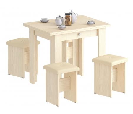 Комплект стол Лайт с четыремя табуретами дуб молочныйОбеденные группы<br><br>