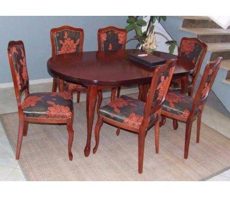 Обеденная группа cтол E-4N + 6 стульев BarokОбеденные группы<br><br><br>Длина стола: 120 см (раскладывается до 150 см)<br>Ширина стола: 80 см<br>Высота стола: 75 см<br>Ширина стула: 44 см<br>Глубина стула: 49 см<br>Высота стула: 96 см<br>Материал каркаса: массив бука<br>Материал обивки: ткань<br>Цвет каркаса: глянец виски<br>Цвет обивки: ткань 641