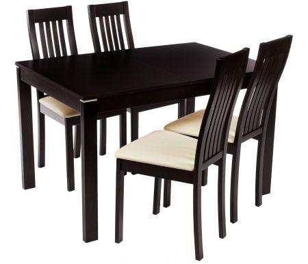 Обеденная группа Стол Rosa и 4 стула MolliОбеденные группы<br><br><br>Длина стола: 120 см (раскладывается до 150 см)<br>Ширина стола: 80 см<br>Высота стола: 74 см<br>Ширина сиденья стула: 46 см<br>Глубина сиденья стула: 43 см<br>Высота стула: 103 см<br>Материал каркасов: массив бука<br>Цвет каркасов: dark walnut (венге)<br>Материал обивки: кожзаменитель<br>Цвет обивки: PVC312 (бежевый)<br>Состав комплекта: стол, 4 стула