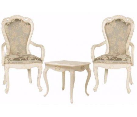 Столик чайный квадратный Милано 8801 + 2 кресла 528Обеденные группы<br>Элегантный комплект Милано состоит чайного столика 8801 и двух кресел 528.<br> <br>Изящные резные элементы в сочетании с благородным цветом привносят в атмосферу интерьера аристократическую роскошь.<br> <br>Каркас комплекта выполнен из массива гивеи, материал обивки ткань.<br><br>Длина стола: 68 см<br>Ширина стола: 68 см<br>Высота стола: 66 см<br>Ширина кресла: 62 см<br>Глубина кресла: 63 см<br>Высота кресла: 106 см<br>Материал: массив гевеи, МДФ ,полимерная масса (декор)<br>Цвет: слоновая кость