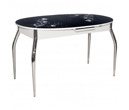 Обеденный стол Фелиция черный / белыйСтекло + дерево<br>Стол оснащен  механизмом раскладывания микролифт.<br>