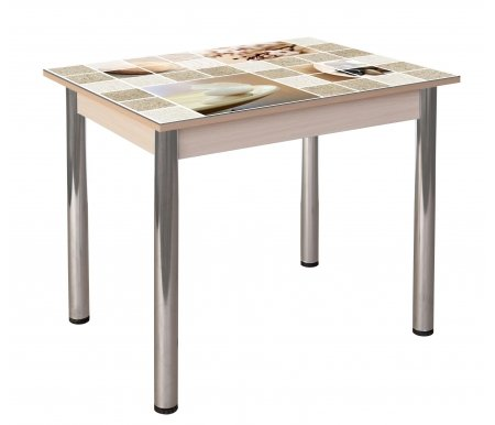 Обеденный стол Гранд 10К-8 кухонный с фотопечатью дуб светлыйСтекло + дерево<br>Полноцветная фотопечать стола.<br>