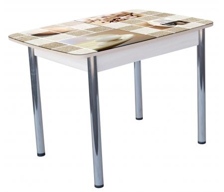 Обеденный стол Гранд 11К кухонный с фотопечатью дуб светлый ДИК Мебель