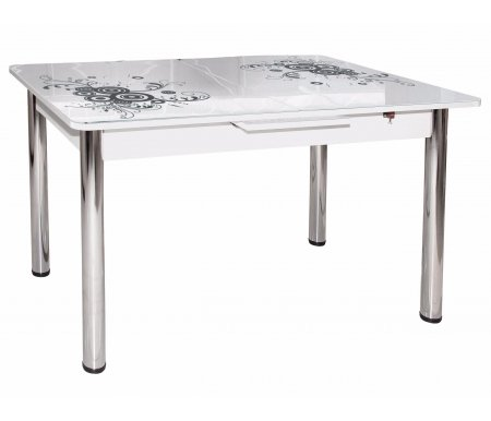 Обеденный стол Грация белыйСтекло + дерево<br>Стол оснащен  механизмом раскладывания микролифт.<br>
