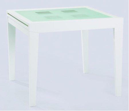 Стол Benson 90 белый светлое матовое стекло с прозрачными квадратамиСтекло + дерево<br>Каркас стола BENSON 90 изготовлен из дерева белого цвета. Столешница выполнена из закаленного матового стекла с прозрачными квадратами. Стол раскладной, можно увеличить его полезную площадь в два раза. За разложенным столом можно разместить до 8 человек.<br>