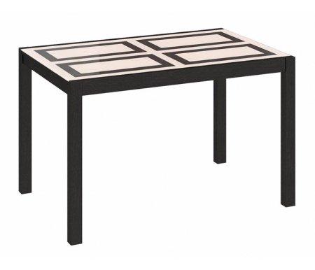 Стол Диез Т4 стекло с рисунком С-345Стекло + дерево<br>Современный стильный стол Диез Т4. Нежное сочетание древесной текстуры и стекла украсит любой интерьер. Ножки и подстолье изготовлены из массива бука.<br><br>Длина: 120 см (раскладывается до 160 см)<br>Ширина: 76 см<br>Высота: 73,5 см<br>Материал каркаса: массив бука<br>Цвет каркаса: венге<br>Материал столешницы: ЛДСП, стекло<br>Вес: 35 кг
