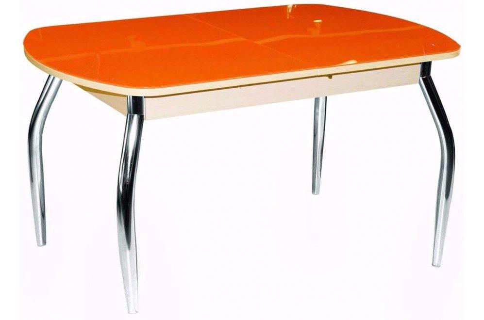 Стол Гала-1 дуб беленый / оранжевый