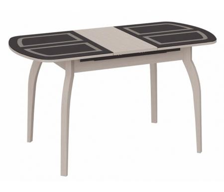 Стол обеденный Милан СМ-203.21.15 на деревянных ножках  дуб белфорд  / стекло коричневое с рисункомСтекло + дерево<br>Ножки стола изготовлены из массива сосны, подстолье и столешница - ЛДСП.<br>Максимальная длина - 141,5 см.<br>