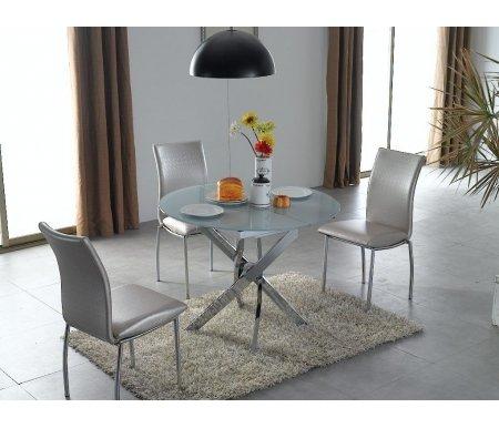 Стол 2303Стеклянные столы<br>Столешница из стекла окрашена в белый цвет с внутренней стороны. <br><br>Толщина стекла 8 мм.<br><br>Длина: 100 см (раскладывается до 129 см)<br>Ширина: 100 см<br>Высота: 76,5 см<br>Материал каркаса: хромированный металл<br>Материал столешницы: закаленное стекло<br>Цвет стекла: ультра-белое