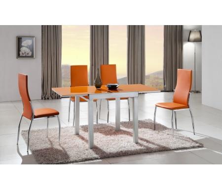 Стол 4001 оранжевое стеклоСтеклянные столы<br>Каркас стола 4001изготовлен из матового металла, столешница выполнена из закаленного оранжевого стекла.<br><br>Длина: 75 см (раскладывается до 150 см)<br>Ширина: 75 см<br>Высота: 75 см<br>Материал каркаса: матовый металл<br>Материал столешницы: закаленное стекло<br>Цвет столешницы: оранжевый