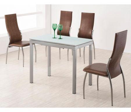 Стол 4002Стеклянные столы<br>Каркас стола 4002 изготовлен из матового металла. Столешница выполнена из белого стекла, материал вставки - МДФ, покрытый матовым лаком серебряного цвета. Стол обладает удобной раскладкой, увеличвающей полезную площадь стола в два раза. <br>За столом можно разместить до 4 персон.<br><br>Длина: 90 см<br>Ширина: 50 см (раскладывается до 90 см)<br>Высота: 75 см<br>Материал каркаса: матовый металл<br>Материал столешницы: закаленное стекло<br>Материал вставки: МДФ, покрытый серебряным лаком