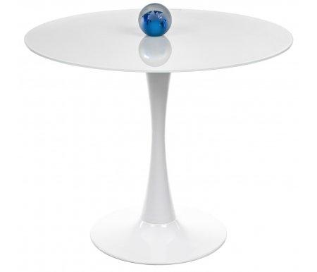 Стол 718T Tulip супер белыйСтеклянные столы<br><br><br>Длина: 90 см<br>Ширина: 90 см<br>Высота: 75 см<br>Материал каркаса: окрашенный металл<br>Цвет каркаса: белый<br>Материал столешницы: стекло<br>Цвет столешницы: белый