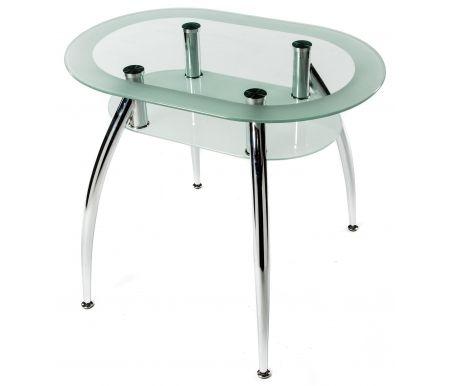 Стол FinСтеклянные столы<br><br><br>Длина: 90 см<br>Ширина: 60 см<br>Высота: 76 см<br>Материал каркаса: хромированный металл<br>Материал столешницы: закаленное стекло